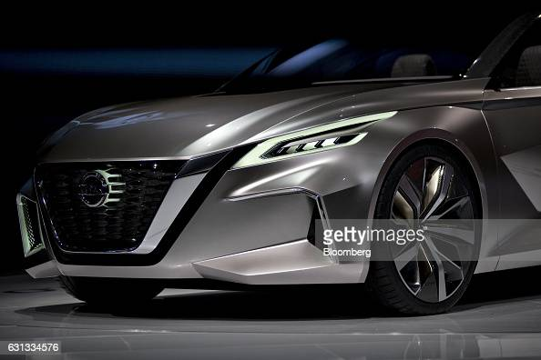 The Nissan Motor Co Vmotion 20 concept vehicle sits on display during the 2017 North American International Auto Show in Detroit Michigan US on...