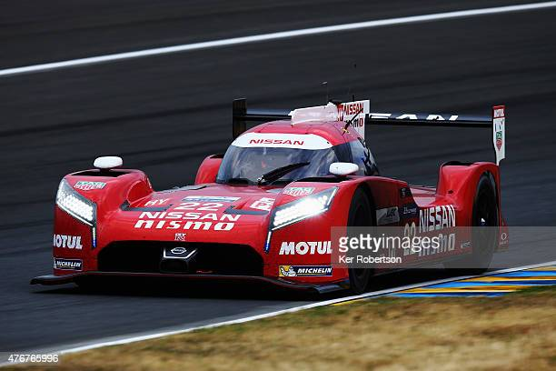 The Nissan NISMO GTR LM of Harry Tincknell Michael Krumm and Alex Buncombe drives during qualifying for the Le Mans 24 Hour race at the Circuit de la...