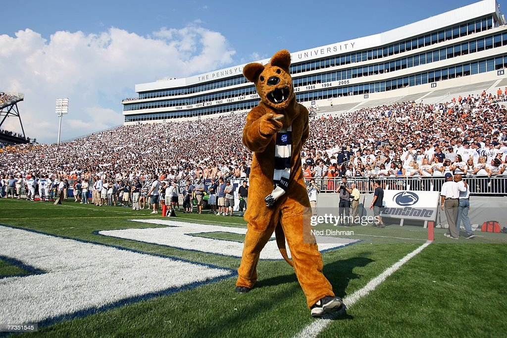 The Nittany Lion mascot of the Penn State Nittany Lions stands on the field against the University of Iowa Hawkeyes at Beaver Stadium on October 6...