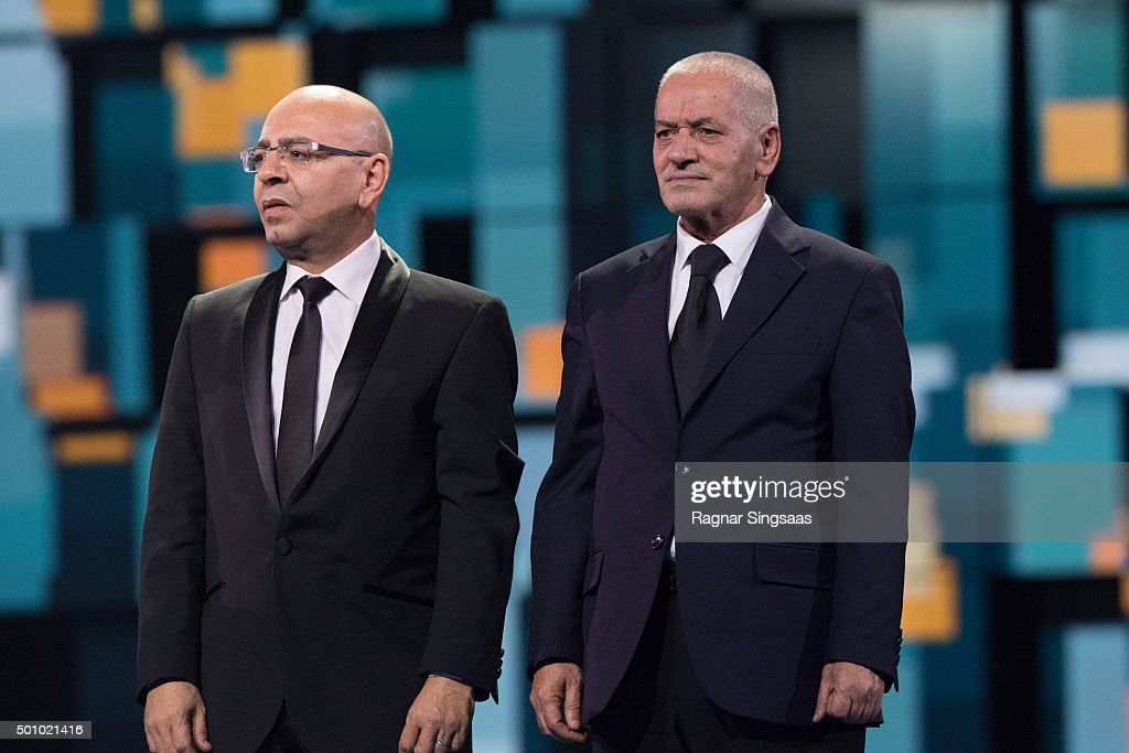 The Nobel Peace Prize Laureates 2015 Mohamed Fadhel Mahfoudh and Houcine Abbassi look on during Nobel Peace Prize concert at Telenor Arena on December 11, 2015 in Oslo, Norway.