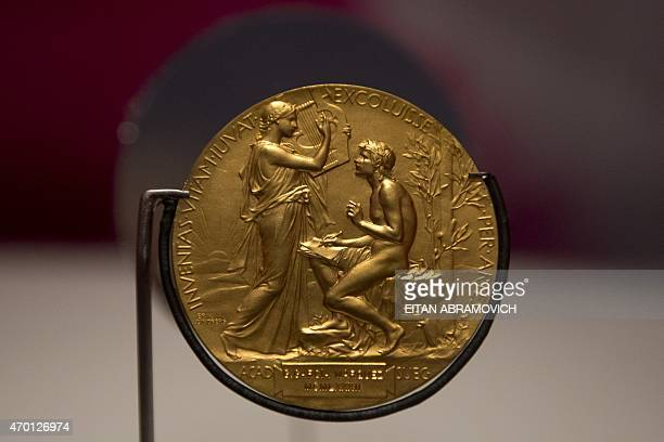 The Nobel Prize gold medal awarded to Colombian writer Gabriel Garcia Marquez is exhibited at the National Library of Colombia in Bogota on April 17...