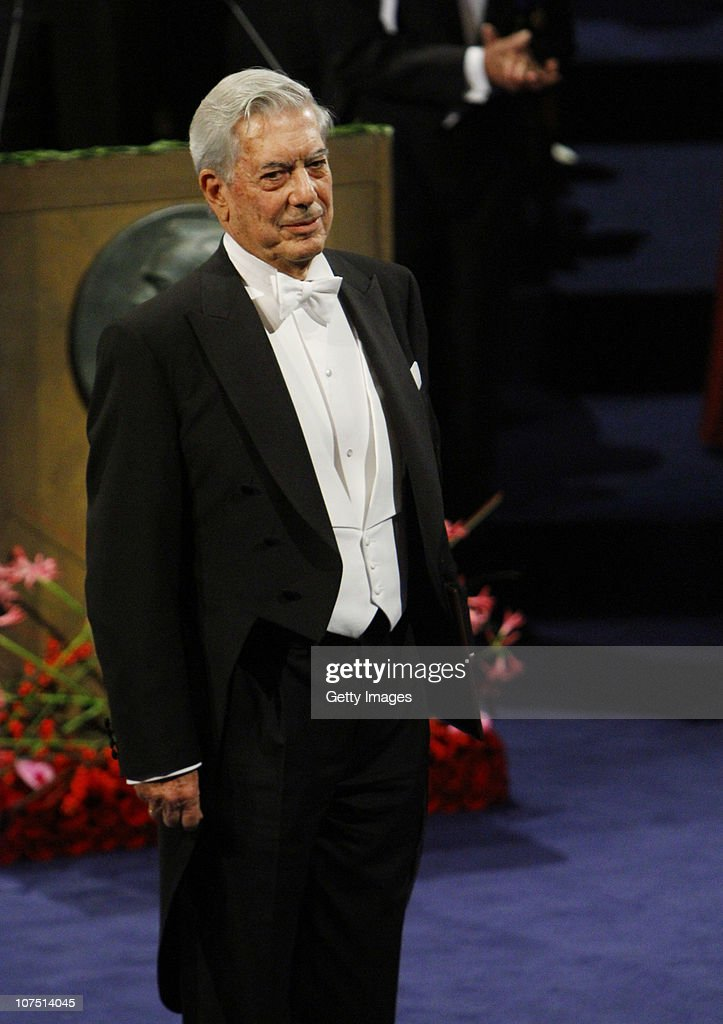 The Nobel Prize in Literature winner Mario Vargas Llosa of Peru waits to receive his award during the annual Nobel Prize Award Ceremony at The...