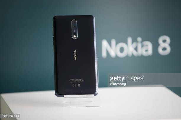 The Nokia 8 smartphone designed by HMD Global Oy sits on a stand ahead of its official unveiling in London UK on Tuesday Aug 15 2017 The phone will...