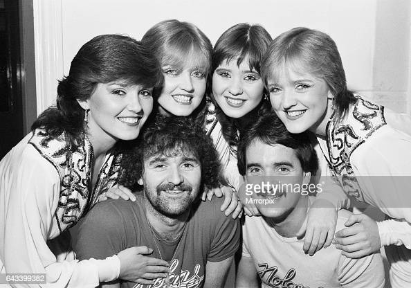Maureen Linda Coleen and Bernie pose with their two brothers Tommy and Brian who are joining them on Russell Harty's television show on BBC2 The two...