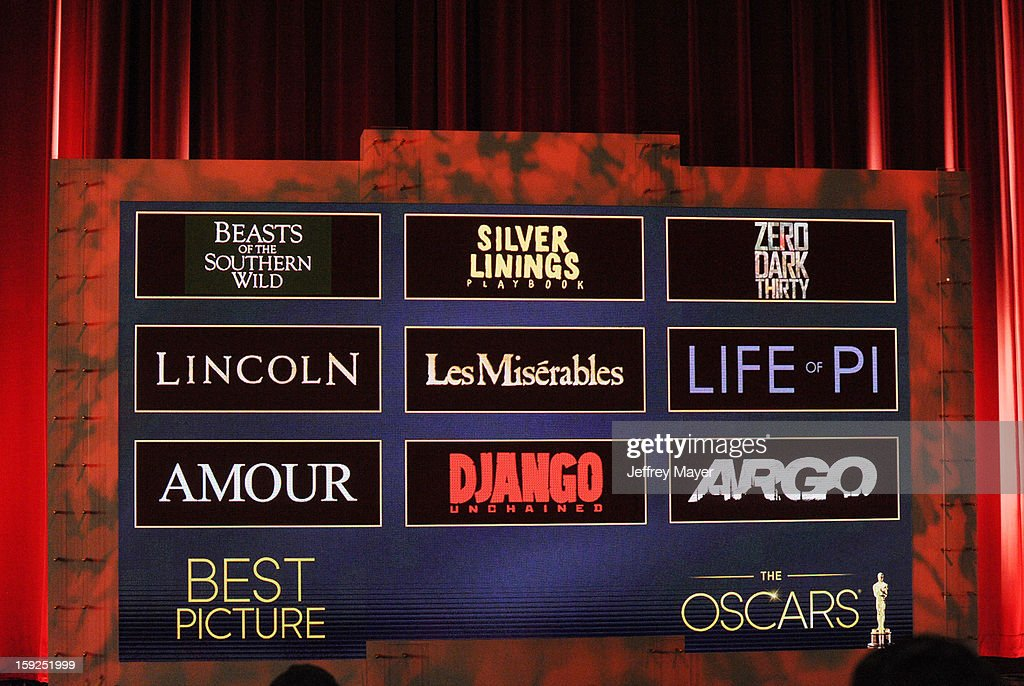 The nominations for Best Picture at The 85th Academy Awards Nominations Announcement held at AMPAS Samuel Goldwyn Theater on January 10, 2013 in Beverly Hills, California.