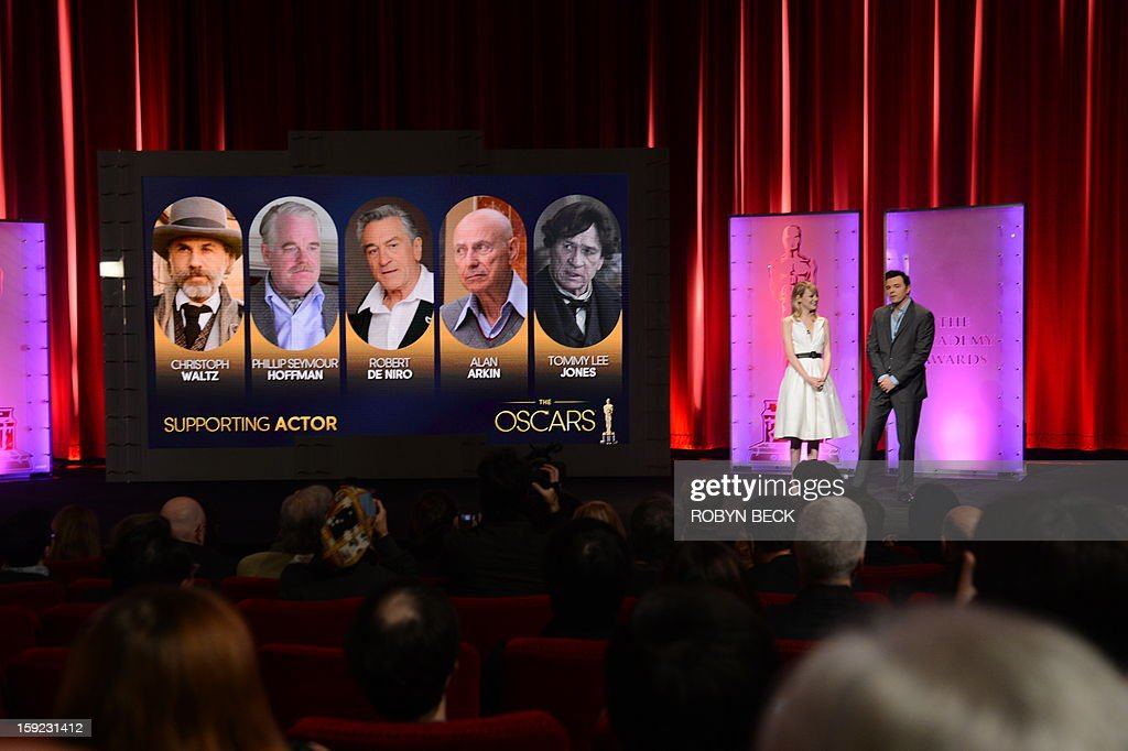 The nominees for Best Supporting Actors are announced by Seth MacFarlane and Emma Stone at the Samuel Goldwyn Theater on January 10, 2013 in Beverly Hills, California. Steven Spielberg is hoping for good news Thursday as Oscar nominees are unveiled, with his 'Lincoln' among frontrunners, albeit in a wide field as Hollywood's awards season enters the home straight. The nominations for the 2013 Academy Awards were held at at the Samuel Goldwyn Theater in Beverly Hills, in California for the famous golden statuettes, to be handed out on February 24.