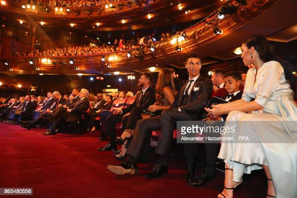 The nominees including Lionel Messi and Cristiano Ronaldo looks on during The Best FIFA Football Awards at The May Fair Hotel on October 23 2017 in...