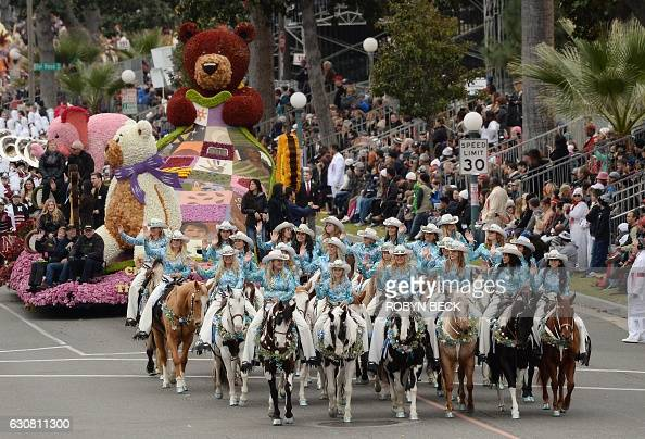 The Norco Cowgirls and The Little Miss Norco Cowgirls Rodeo Drill Team participate in the 128th Rose Parade in Pasadena California January 2 2017 The...