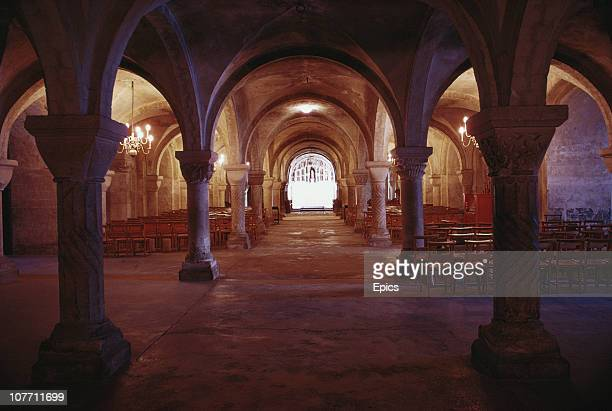 The Norman crypt of Canterbury Cathedral Canterbury Kent January 1968 The Cathedral's history goes back to 597AD when St Augustine sent by Pope...