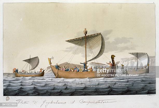 The Norman fleet of William the Conqueror in 1099 coloured engraving from Costume of the original inhabitants of the British Islands by Samuel Rush...