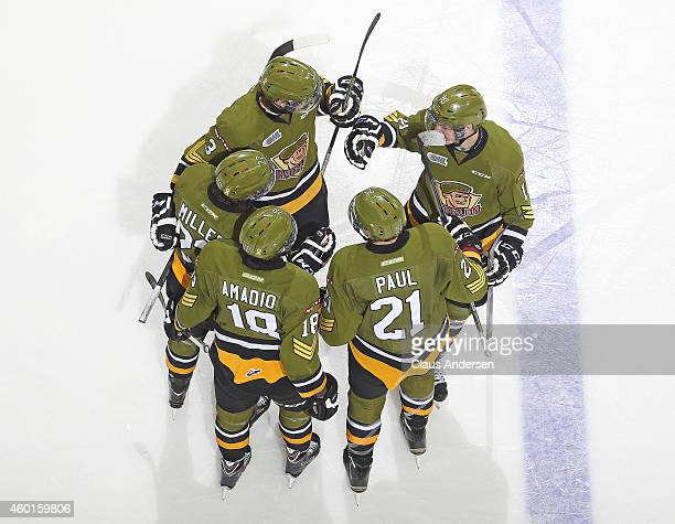 The North Bay Battalion celebrate a goal against the London Knights in an OHL game at Budweiser Gardens on December 7 2014 in London Ontario Canada...