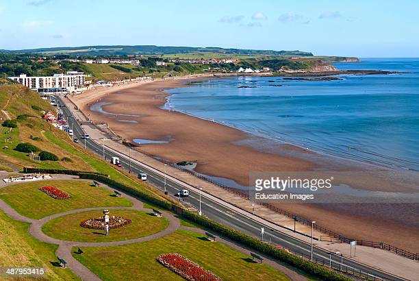 The North Beach of Scarborough on the North Sea coast of North Yorkshire England