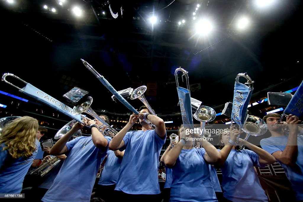 The North Carolina Tar Heels band plays before the West Regional Semifinal of the 2015 NCAA Men's Basketball Tournament at Staples Center on March 26...