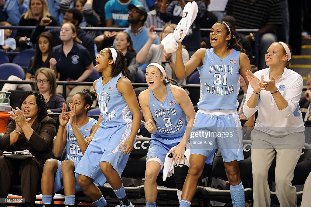 The North Carolina Tar Heels bench celebrates near the end of a game against the Maryland Terrapins during the semifinals of the 2013 Women's ACC Tournament at the Greensboro Coliseum on March 9, 2013 in Greensboro, North Carolina.