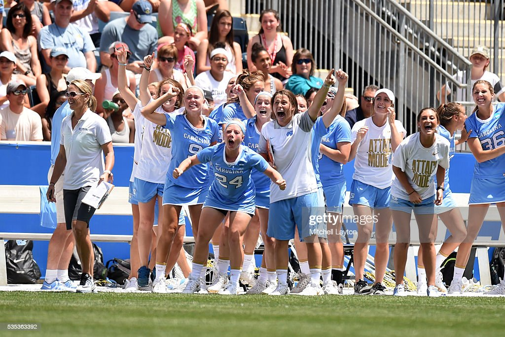 The North Carolina Tar Heels celebrate a goal during the NCCA Women's Lacrosse Championship game against the Maryland Terrapins at Talen Energy Stadium on May 29, 2016 in Chester, Pennsylvania. The Tar Heels won 13-7.