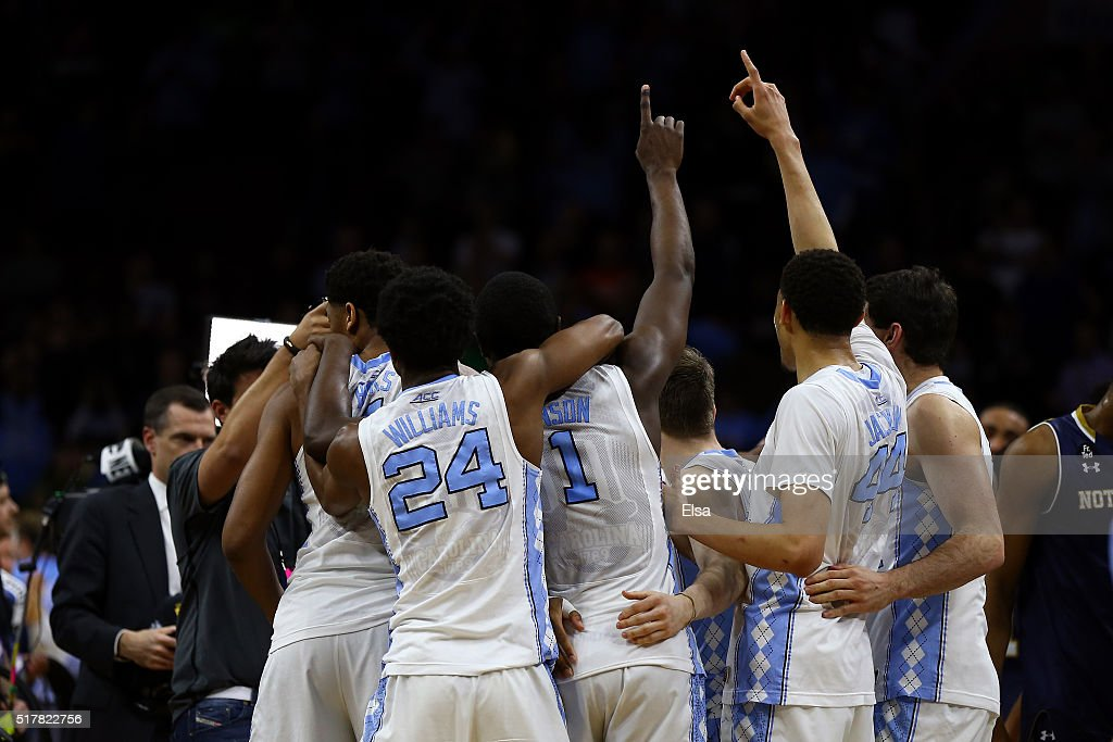 The North Carolina Tar Heels celebrates after defeating the Notre Dame Fighting Irish with a score of 74 to 88 in the 2016 NCAA Men's Basketball...