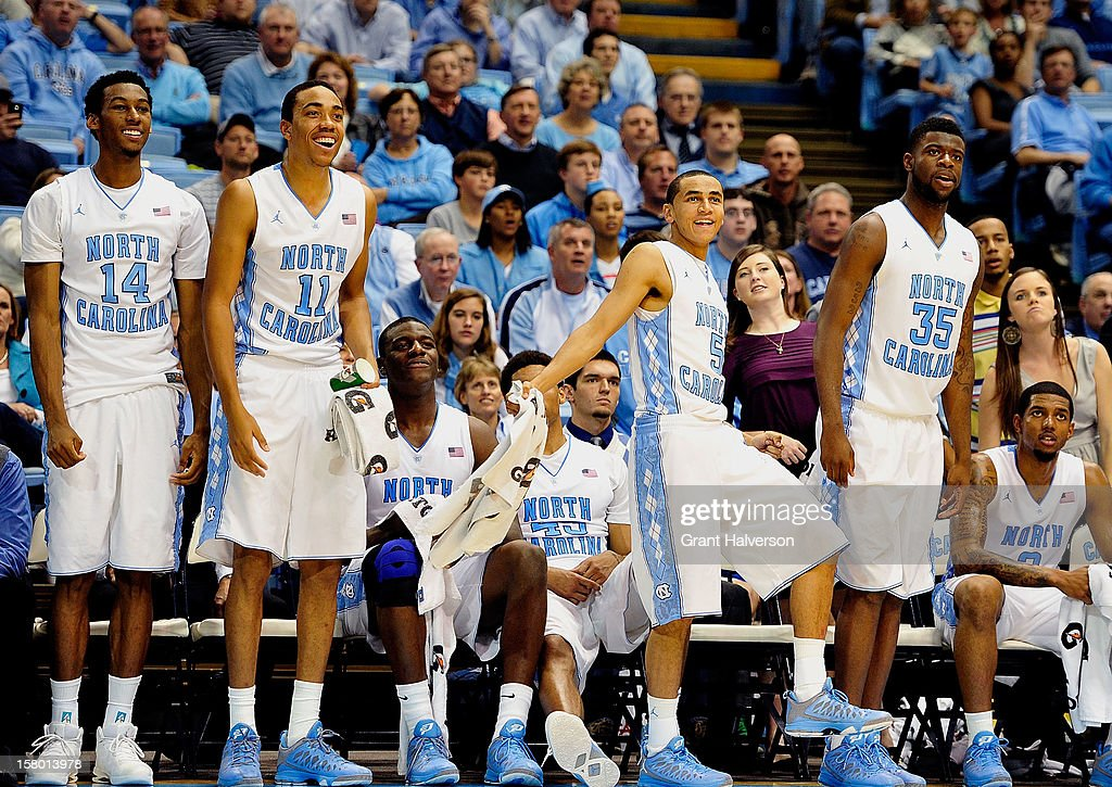 The North Carolina Tar Heels first team watches the reserves play the final minutes of a win over the East Tennessee State Buccaneers during play at Dean Smith Center on December 8, 2012 in Chapel Hill, North Carolina. North Carolina won 78-55.