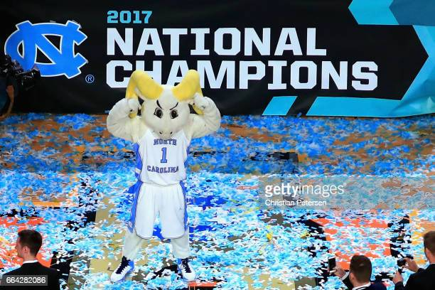 The North Carolina Tar Heels mascot celebrates in the confetti after defeatin ghte Gonzaga Bulldogs during the 2017 NCAA Men's Final Four National...
