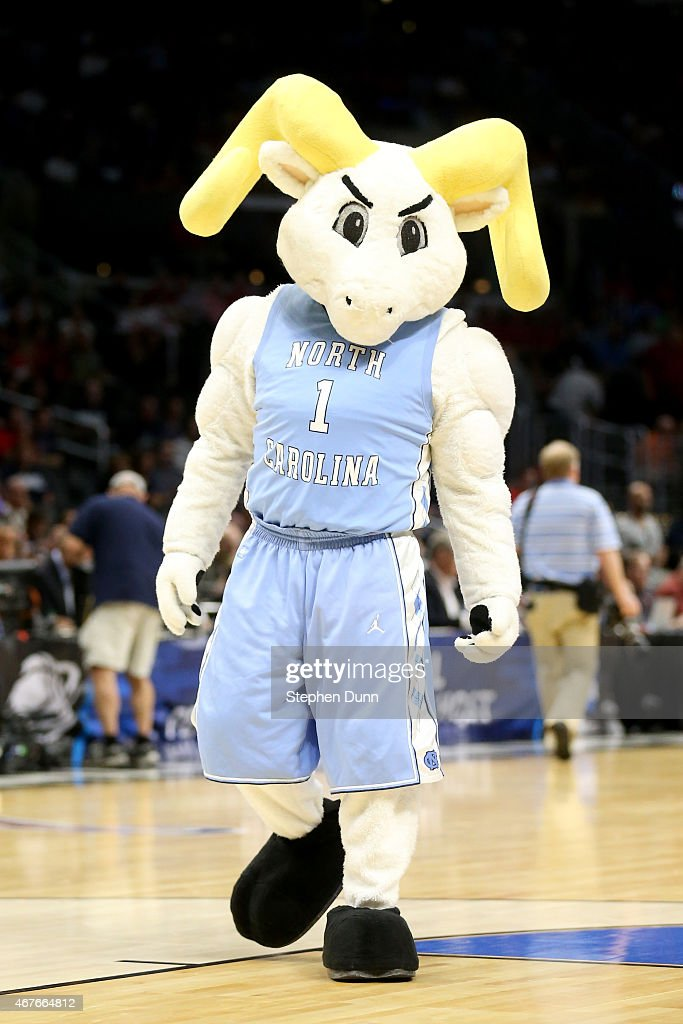The North Carolina Tar Heels mascot is seen before the game against the Wisconsin Badgers in the West Regional Semifinal of the 2015 NCAA Men's...