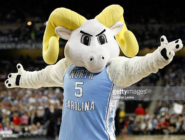 The North Carolina Tar Heels mascot performs before the game against the Villanova Wildcats during the National Semifinal game of the NCAA Division I...