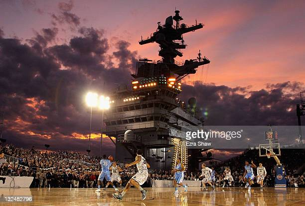 The North Carolina Tar Heels play against the Michigan State Spartans during the Quicken Loans Carrier Classic on board the USS Carl Vinson on...
