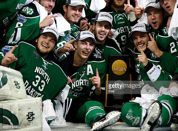 The North Dakota Fighting Hawks celebrate the win after the championship game of the 2016 NCAA Division I Men's Hockey Championships at Amalie Arena...