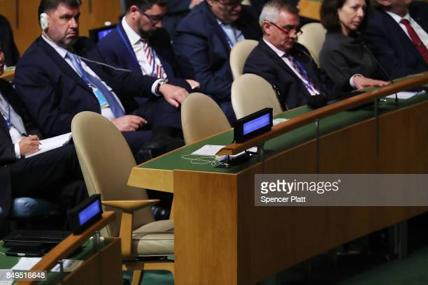 The North Korean delegation's seats stand empty as President Donald Trump speaks to world leaders at the 72nd United Nations General Assembly at UN...