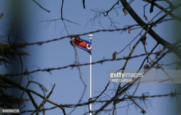 The North Korean national flag flies at the North Korean embassy in Beijing on March 8 2017 China's foreign minister called for North Korea to...