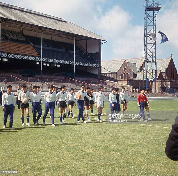 The North Korean team on the pitch at Goodison Park before their quarter final match against Portugal during the 1966 World Cup in England 23rd July...