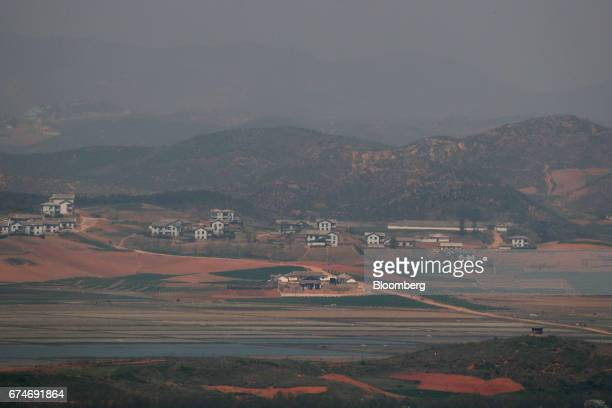The North Korean village of GaepungGun is seen from the Odusan Unification Observatory near the Demilitarized Zone in Paju South Korea on Saturday...