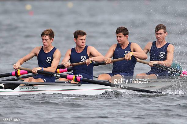The North Shore Rowing Club men's club coxed four during the North Island Club Championships at Lake Karapiro on February 7 2014 in Cambridge New...