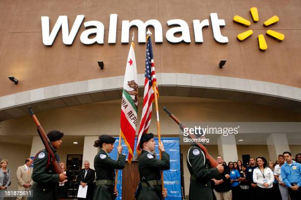 The North Torrance High School JROTC color guard presents the US flag and California state flag before the grand opening of a new WalMart Stores Inc...