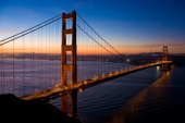 The north tower of the historic Golden Gate Bridge is viewed from the Marin Headlands on February 12 2011 in San Francisco California When...