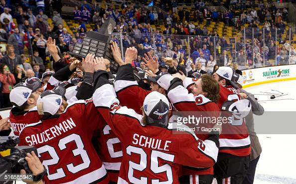 The Northeastern Huskies win the Hockey East Championship against the Massachusetts Lowell River Hawks during NCAA hockey in the Hockey East...