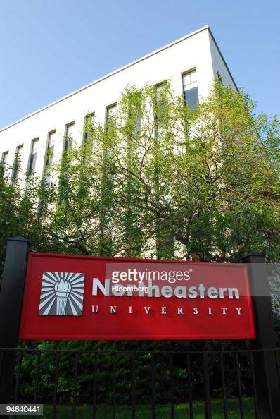 The Northeastern University logo is displayed on a sign at the Boston Massachusetts campus on Wednesday August 2 2006