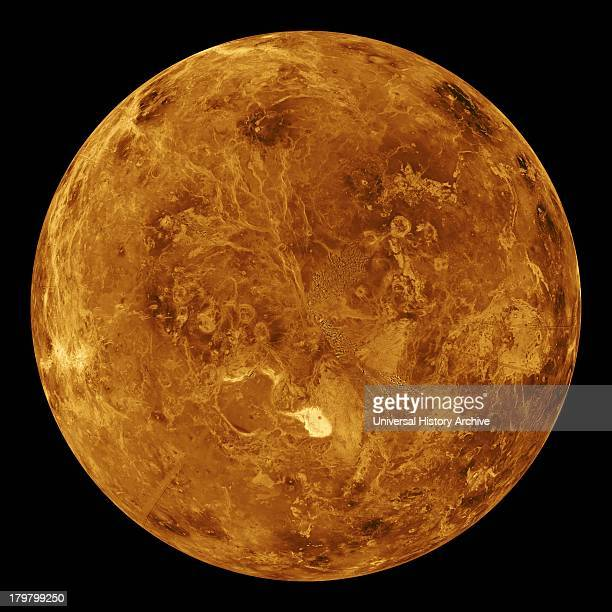 The northern hemisphere is displayed in this global view of the surface of Venus The north pole is at the center of the image Magellan
