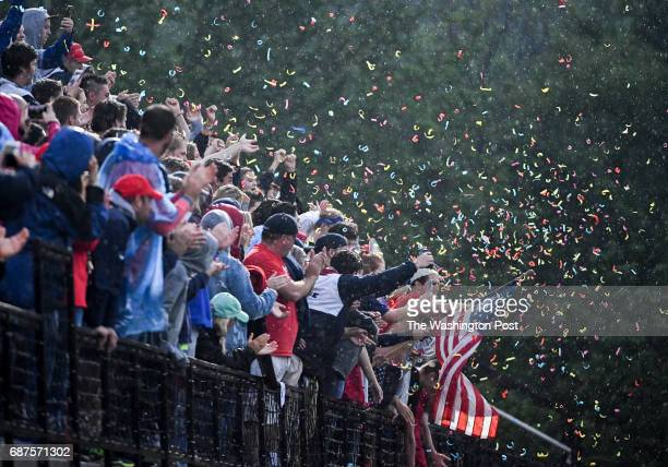 The Northern High fans celebrate their win over Glenelg in the Maryland State 3A/2A lacrosse championship game on May 23 2017 in Stevenson MD