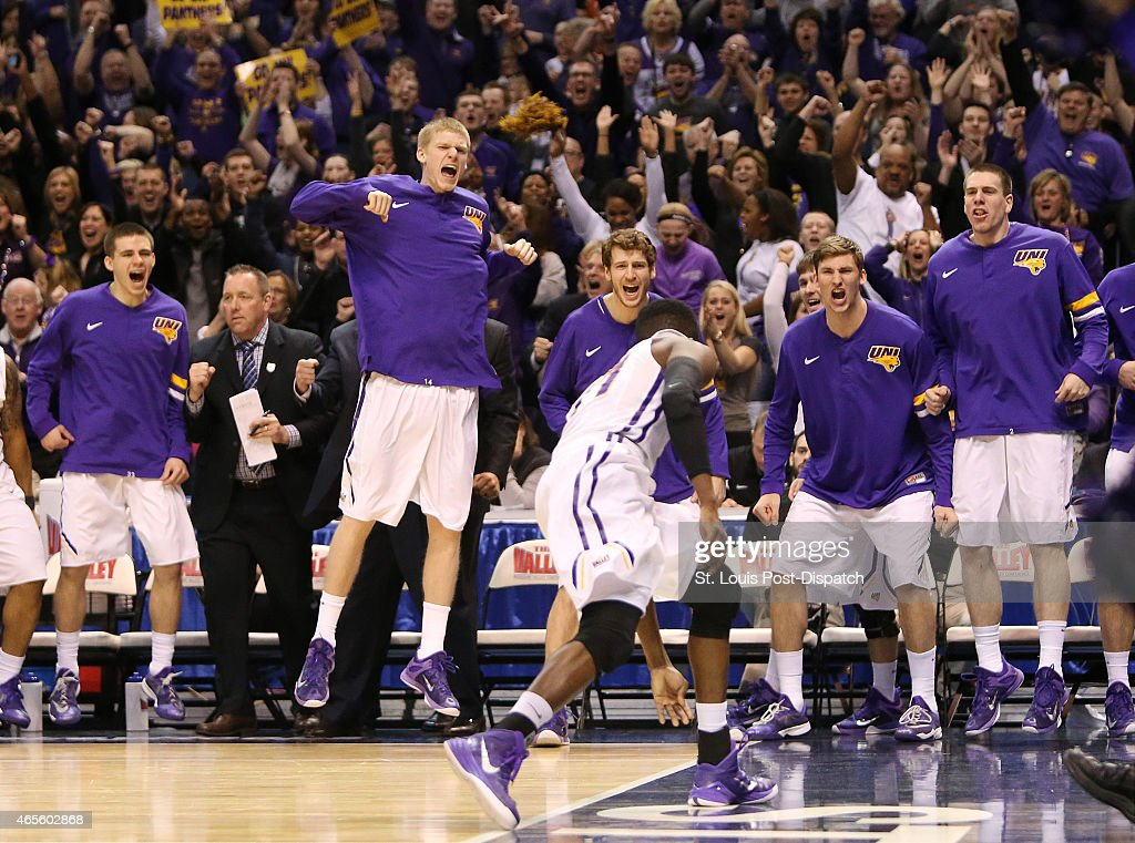 The Northern Iowa bench reacts after guard Wes Washpun, foreground, was fouled while scoring during the second half of the MVC tournament game between Northern Iowa and Illinois State on Sunday, March 8, 2015, at the Scottrade Center in St. Louis.