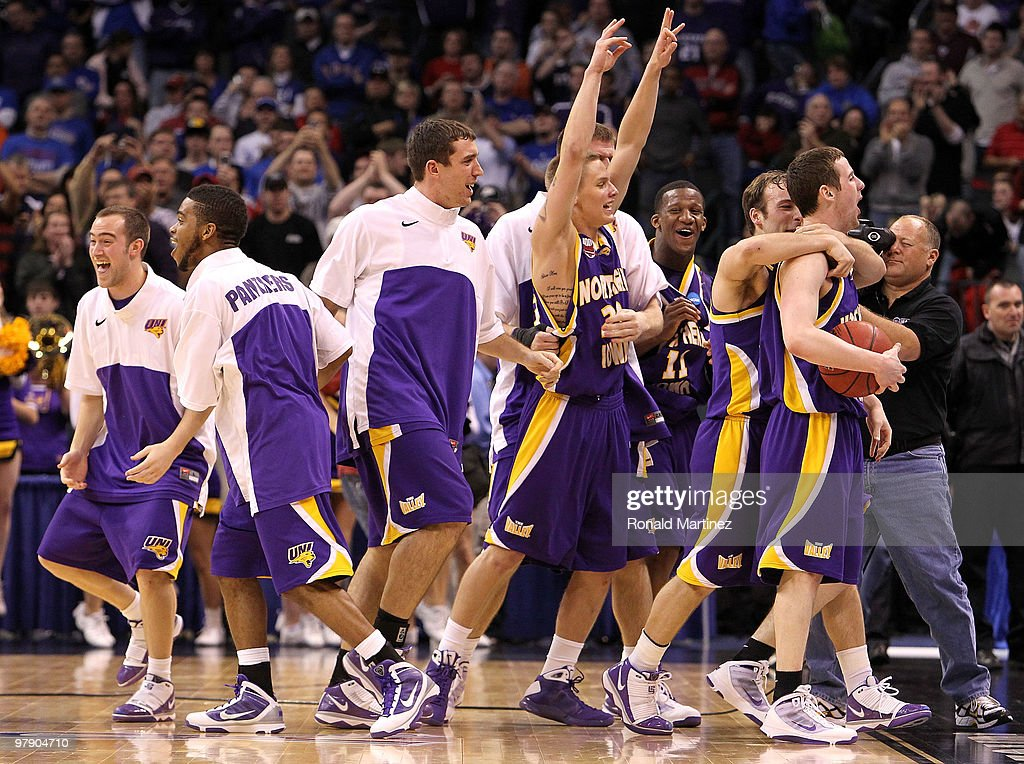 The Northern Iowa Panthers celebrate after they won 6967 against the Kansas Jayhawks during the second round of the 2010 NCAA men's basketball...