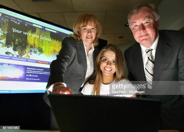 The Northern Ireland Office trade and enterprise minister Angela Smith with Miss Northern Ireland Lucy Evangelista and Irish tourism minister John...