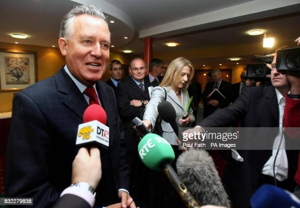 The Northern Ireland Secretary of State Peter Hain speaking to the media at the Police Federation annual conference La Mon House Hotel outside Belfast