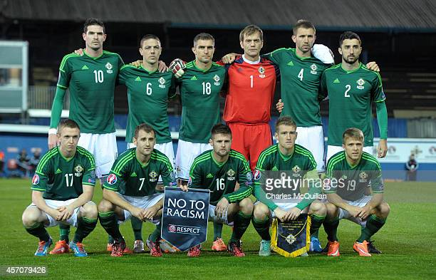 The Northern Ireland team before the Euro 2016 Qualifier between Northern Ireland and Faroe Islands at Windsor Park on October 11 2014 in Belfast...