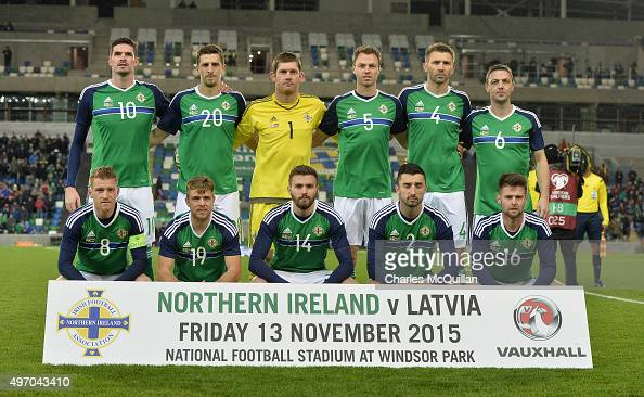 The Northern Ireland team pictured before the international football friendly between Northern Ireland and Latvia at Windsor Park on November 13 2015...