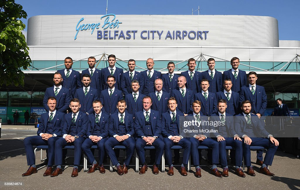 The Northern Ireland team pose for official photographs before their training camp departure at George Best Belfast City Airport on May 30, 2016 in Belfast, Northern Ireland. Northern Ireland have qualified for the Euro 2016 football championship finals in France, the first time the province has qualified for an international football tournament final since 1986.