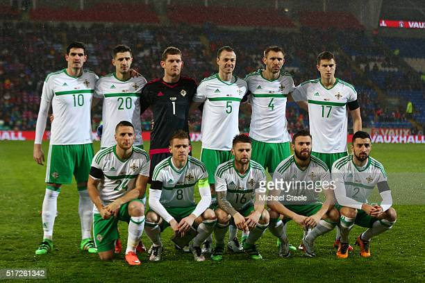 The Northern Ireland team pose for the cameras prior to kickoff during the international friendly match between Wales and Northern Ireland at the...