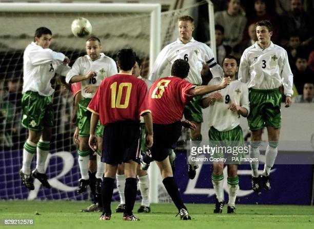 The Northern Ireland wall block a free kick from Spain's Baraja during their European Championship Qualifying Group 6 match at the Carlos Belmonte...
