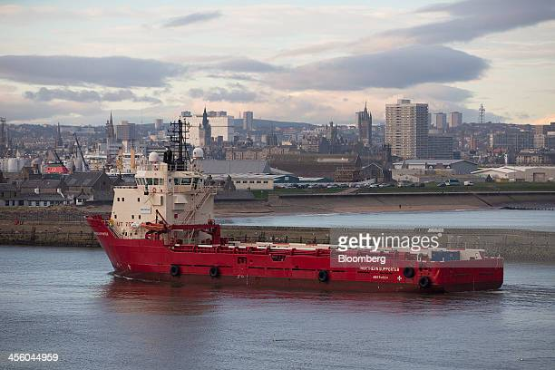 The Northern Supporter a Multi Purpose Offshore Vessel operated by DeepOcean Group Holding AS arrives at Aberdeen Harbour operated by the Aberdeen...