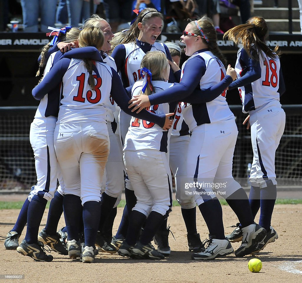 The Northern team celebrated their six straight championship win beating Eastern Tech 3-0 in the Maryland 3A softball title game at the University of Maryland's Robert E. Taylor Stadium on May, 25, 2013 in College Park, Md.