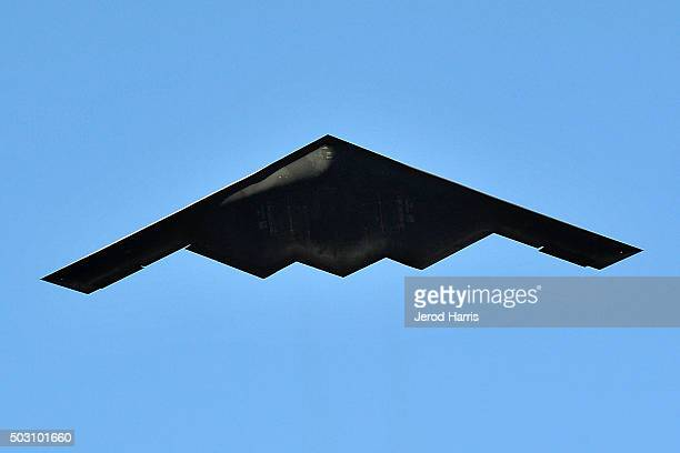 The Northrop Grumman B2 Spirit stealth bomber flies over the 127th Tournament of Roses Parade Presented by Honda on January 1 2016 in Pasadena...