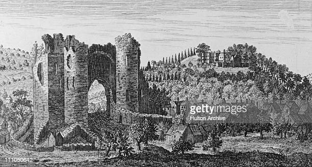 The northwest view of Neath Castle in the county of Glamorgan Wales circa 1700